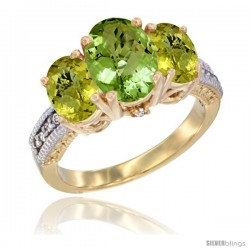 10K Yellow Gold Ladies 3-Stone Oval Natural Peridot Ring with Lemon Quartz Sides Diamond Accent