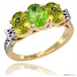 10K Yellow Gold Natural Peridot & Lemon Quartz Sides Ring 3-Stone Oval 7x5 mm Diamond Accent