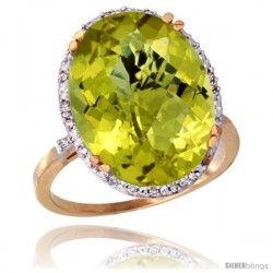 10k Yellow Gold Diamond Halo Large Lemon Quartz Ring 10.3 ct Oval Stone 18x13 mm, 3/4 in wide