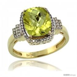 10k Yellow Gold Diamond Halo Lemon Quartz Ring 2.4 ct Cushion Cut 9x7 mm, 1/2 in wide