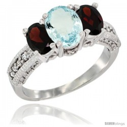 14k White Gold Ladies Oval Natural Aquamarine 3-Stone Ring with Garnet Sides Diamond Accent
