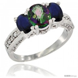 14k White Gold Ladies Oval Natural Mystic Topaz 3-Stone Ring with Blue Sapphire Sides Diamond Accent