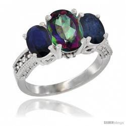 14K White Gold Ladies 3-Stone Oval Natural Mystic Topaz Ring with Blue Sapphire Sides Diamond Accent