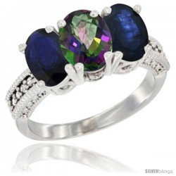 14K White Gold Natural Mystic Topaz & Blue Sapphire Sides Ring 3-Stone 7x5 mm Oval Diamond Accent