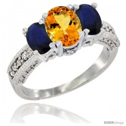 14k White Gold Ladies Oval Natural Citrine 3-Stone Ring with Blue Sapphire Sides Diamond Accent