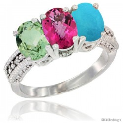 10K White Gold Natural Green Amethyst, Pink Topaz & Turquoise Ring 3-Stone Oval 7x5 mm Diamond Accent