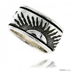 Sterling Silver Men's Spinner Ring Sun Rays Design Handmade 1/2 in wide