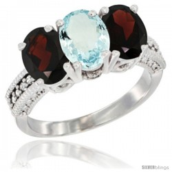 14K White Gold Natural Aquamarine & Garnet Sides Ring 3-Stone 7x5 mm Oval Diamond Accent