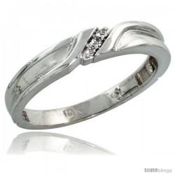 10k White Gold Ladies' Diamond Wedding Band, 1/8 in wide -Style Ljw108lb