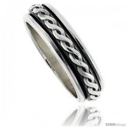 Sterling Silver Men's Spinner Ring Rope Design Handmade 5/16 wide