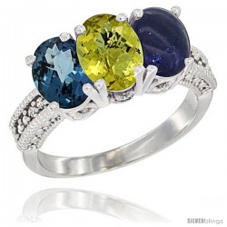 14K White Gold Natural London Blue Topaz, Lemon Quartz & Lapis Ring 3-Stone 7x5 mm Oval Diamond Accent