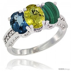 14K White Gold Natural London Blue Topaz, Lemon Quartz & Malachite Ring 3-Stone 7x5 mm Oval Diamond Accent