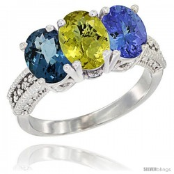 14K White Gold Natural London Blue Topaz, Lemon Quartz & Tanzanite Ring 3-Stone 7x5 mm Oval Diamond Accent