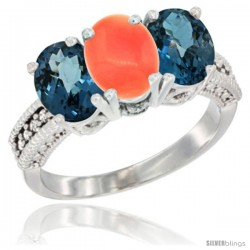 14K White Gold Natural Coral & London Blue Topaz Sides Ring 3-Stone 7x5 mm Oval Diamond Accent