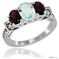 14K White Gold Natural Aquamarine & Garnet Ring 3-Stone Oval with Diamond Accent