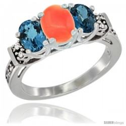 14K White Gold Natural Coral & London Blue Ring 3-Stone Oval with Diamond Accent