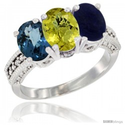 14K White Gold Natural London Blue Topaz, Coral & Lapis Ring 3-Stone 7x5 mm Oval Diamond Accent