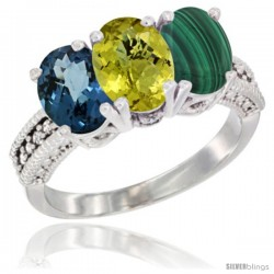 14K White Gold Natural London Blue Topaz, Coral & Malachite Ring 3-Stone 7x5 mm Oval Diamond Accent