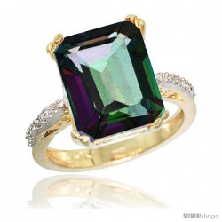 10k Yellow Gold Diamond Mystic Topaz Ring 5.83 ct Emerald Shape 12x10 Stone 1/2 in wide