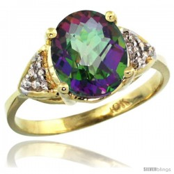 10k Yellow Gold Diamond Mystic Topaz Ring 2.40 ct Oval 10x8 Stone 3/8 in wide