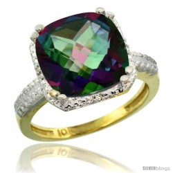 10k Yellow Gold Diamond Mystic Topaz Ring 5.94 ct Checkerboard Cushion 11 mm Stone 1/2 in wide