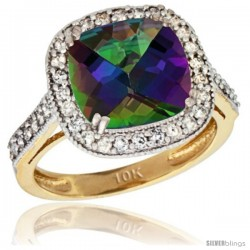 10k Yellow Gold Diamond Halo Mystic Topaz Ring Checkerboard Cushion 9 mm 2.4 ct 1/2 in wide