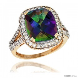 10k Yellow Gold Diamond Halo Mystic Topaz Ring Checkerboard Cushion 12x10 4.8 ct 3/4 in wide