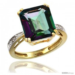 10k Yellow Gold Diamond Mystic Topaz Ring 5.83 ct Emerald Shape 12x10 Stone 1/2 in wide -Style Cy908149
