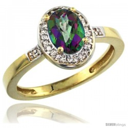 10k Yellow Gold Diamond Mystic Topaz Ring 1 ct 7x5 Stone 1/2 in wide