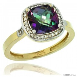 10k Yellow Gold Diamond Mystic Topaz Ring 2.08 ct Checkerboard Cushion 8mm Stone 1/2.08 in wide