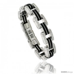 Gent's Stainless Steel & Rubber Link Bracelet, w/ Greek Key Pattern, 1/2 in wide, 8 1/2 in long