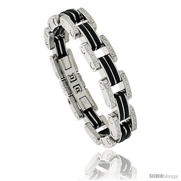 https://www.silverblings.com/472-thickbox_default/gents-stainless-steel-rubber-link-bracelet-w-greek-key-pattern-1-2-in-wide-8-1-2-in-long.jpg