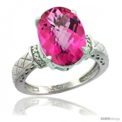Sterling Silver Diamond Natural Pink Topaz Ring 5.5 ct Oval 14x10 Stone