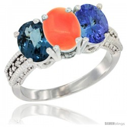 14K White Gold Natural London Blue Topaz, Coral & Tanzanite Ring 3-Stone 7x5 mm Oval Diamond Accent