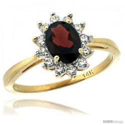 14k Yellow Gold Diamond Halo Garnet Ring 0.85 ct Oval Stone 7x5 mm, 1/2 in wide