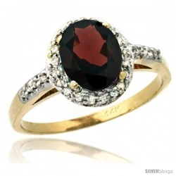 14k Yellow Gold Diamond Garnet Ring Oval Stone 8x6 mm 1.17 ct 3/8 in wide