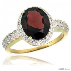 14k Yellow Gold Diamond Garnet Ring Oval Stone 10x8 mm 2.4 ct 1/2 in wide