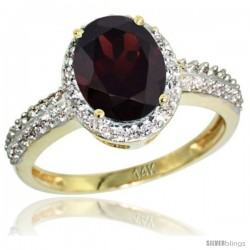 14k Yellow Gold Diamond Garnet Ring Oval Stone 9x7 mm 1.76 ct 1/2 in wide