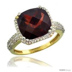 14k Yellow Gold Diamond Halo Garnet Ring Checkerboard Cushion 11 mm 5.85 ct 1/2 in wide