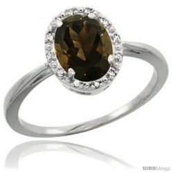 Sterling Silver Natural Smoky Topaz Diamond Halo Ring 1.17 Carat 8X6 mm Oval Shape, 1/2 in wide