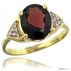 14k Yellow Gold Diamond Garnet Ring 2.40 ct Oval 10x8 Stone 3/8 in wide