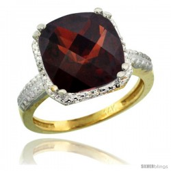 14k Yellow Gold Diamond Garnet Ring 5.94 ct Checkerboard Cushion 11 mm Stone 1/2 in wide