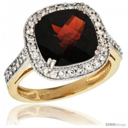 14k Yellow Gold Diamond Halo Garnet Ring Checkerboard Cushion 9 mm 2.4 ct 1/2 in wide
