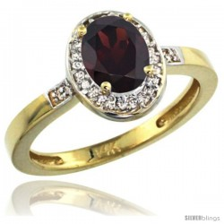 14k Yellow Gold Diamond Garnet Ring 1 ct 7x5 Stone 1/2 in wide