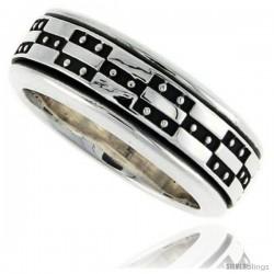 Sterling Silver Men's Spinner Ring Geometric Design Handmade 3/8 in wide