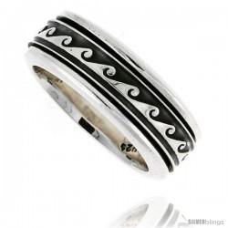 Sterling Silver Men's Spinner Ring Wave Design Handmade 5/16 wide