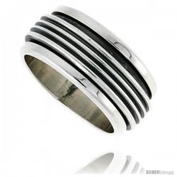 Sterling Silver Men's Spinner Ring Ribbed Design Handmade 3/8 in wide