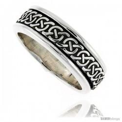 Sterling Silver Men's Spinner Ring Celtic Knot Design Handmade 5/16 wide -Style Xrt36