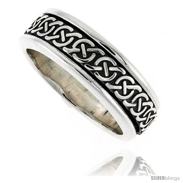 Sterling Silver Mens Spinner Ring Celtic Knot Design Handmade 5 16 Wide Style Xrt36