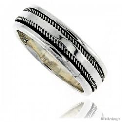 Sterling Silver Men's Spinner Ring Rope Edge Design Handmade 5/16 wide